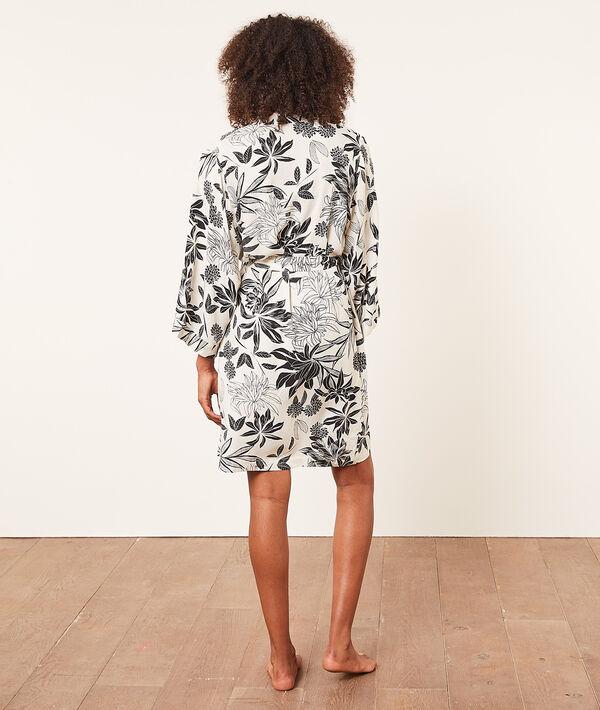 Атласный халат-кимоно с тропическим принтом;${refinementColor}