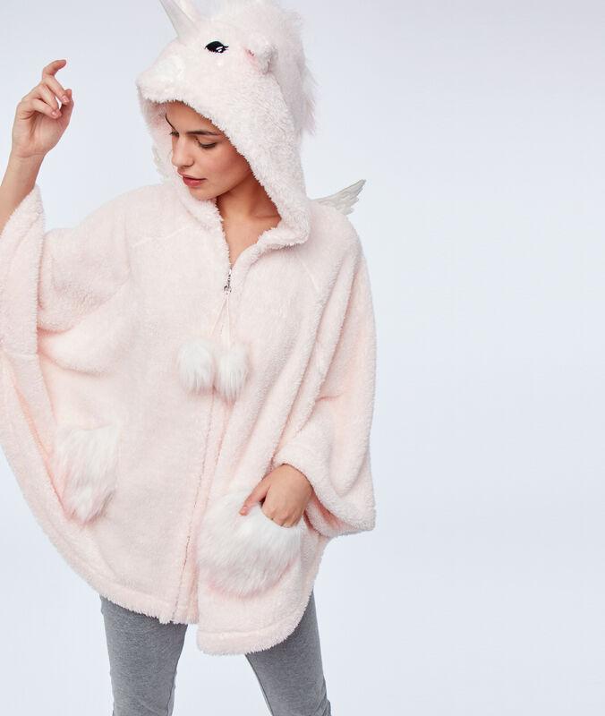 Пончо со съемным капюшоном из искусственного меха   розовый.