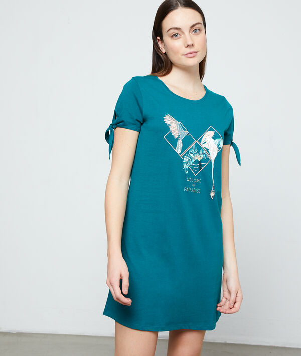 Платье-футболка с принтом;${refinementColor}
