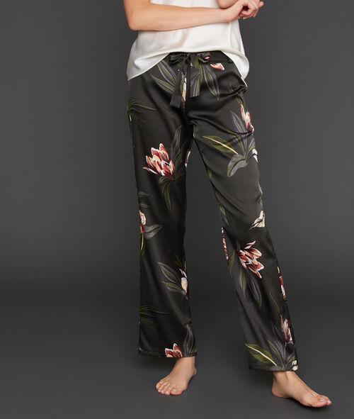 Широкие атласные штаны с цветочным принтом