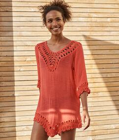 Пляжное платье коралловый.