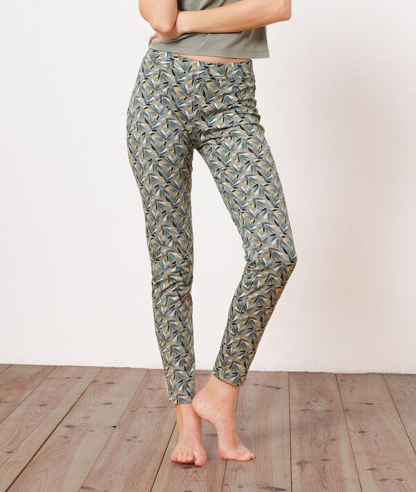 Хлопковые брюки с растительным принтом;${refinementColor}