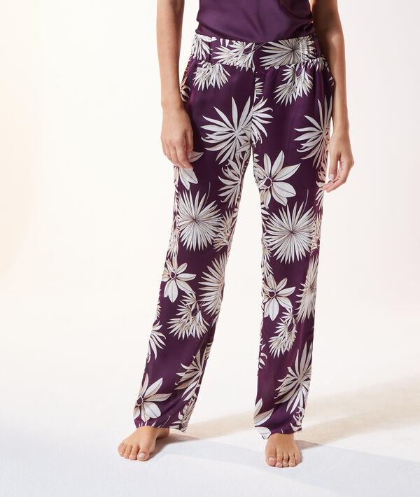 Атласные брюки с цветочным принтом - SINO - Фиолетовый - S