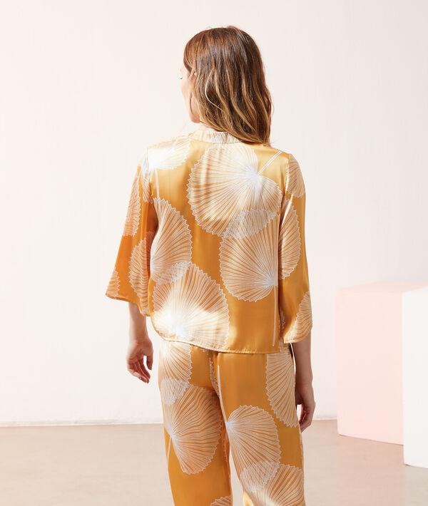 Атласная рубашка-кимоно с принтом;${refinementColor}