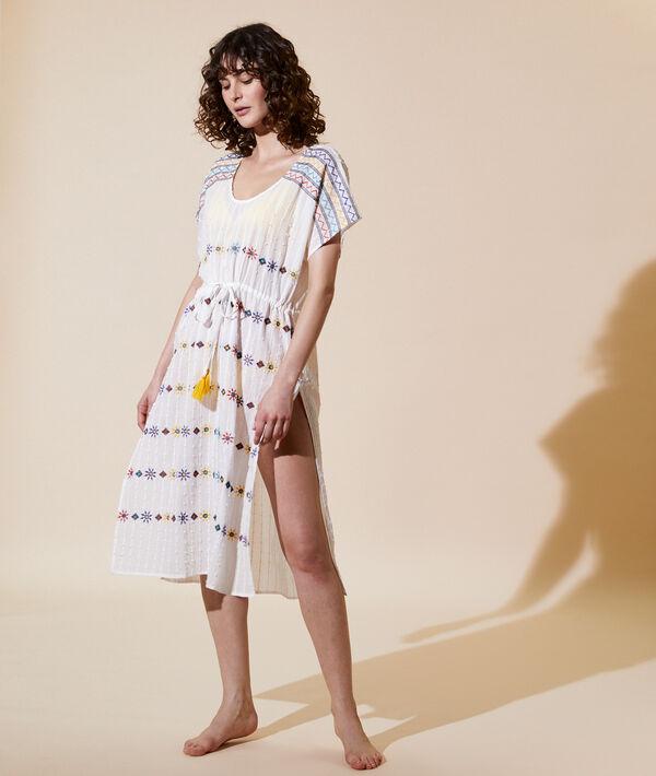 Длинное платье с вышивкой - DULCE - Экрю - M фото