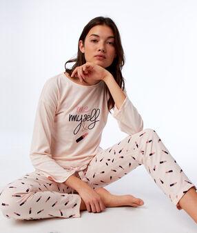 T-shirt noué à manches longues rose.