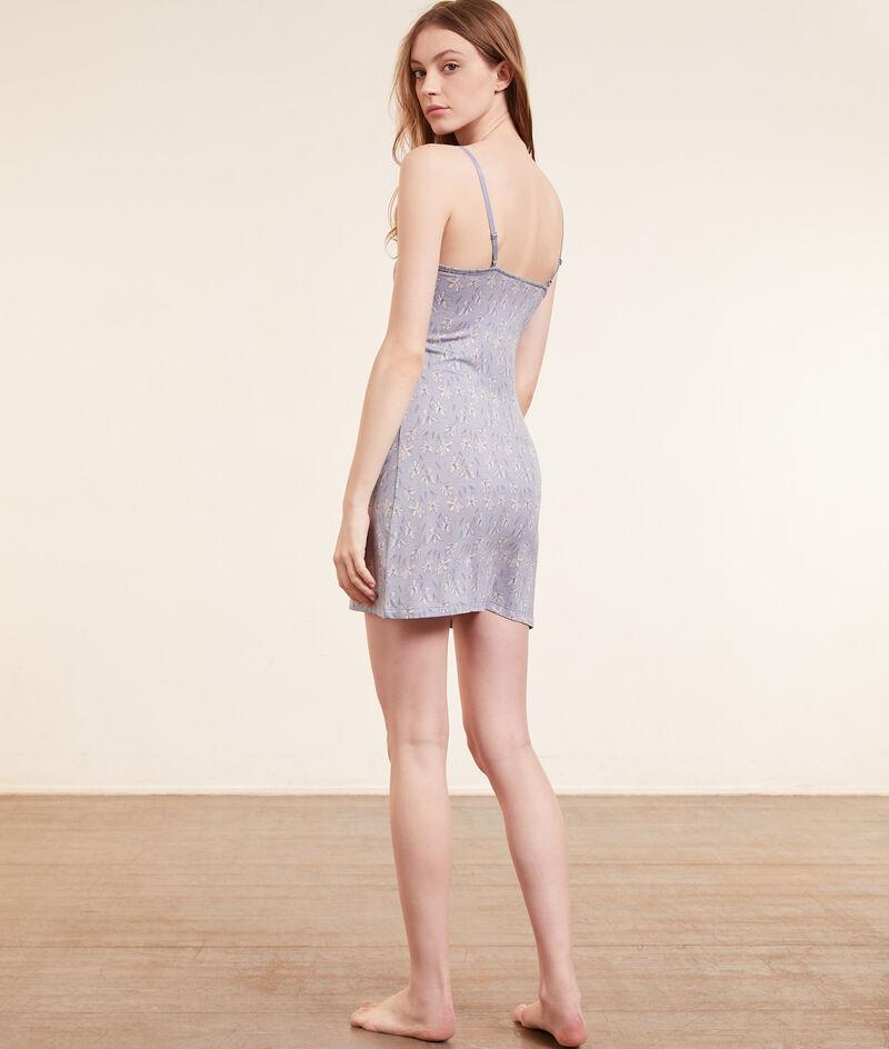 Платье-сорочка с цветочным принтом и кружевом;${refinementColor}