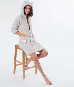 Мягкий халатик с карманами в форме лисы бежевый.
