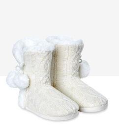 Тапочки-сапожки на меху blanc cassé.