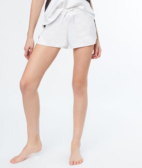 Атласные шорты, контрастная кружевная лента
