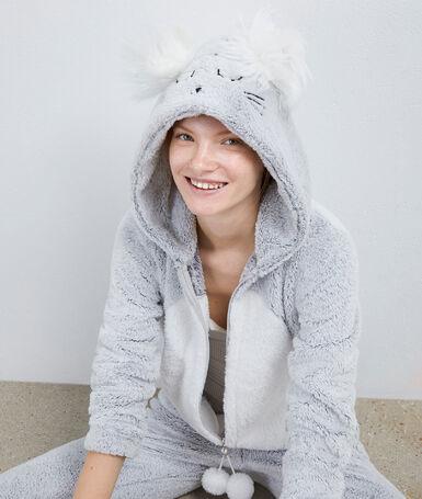 Пижама-комбинезон с мышью серый.