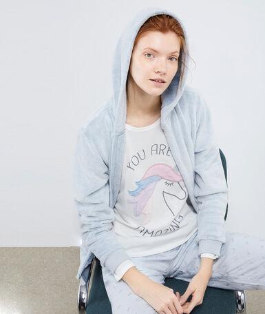 Pyjama 3 pièces imprimé licorne bleu ciel.