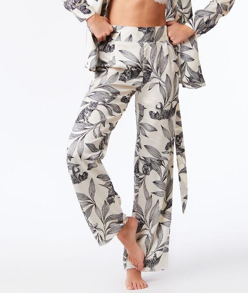 Домашние широкие штаны с цветочным принтом