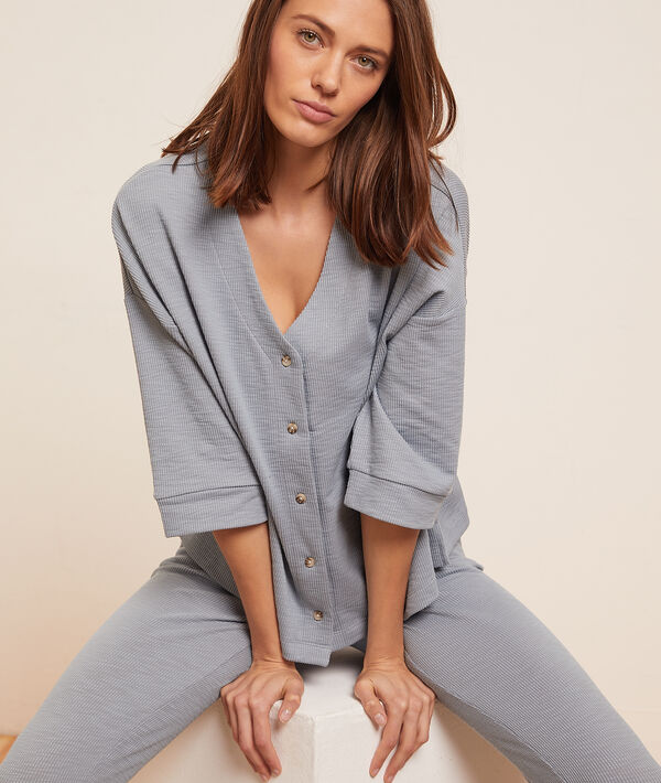 Пижамная рубашка в рубчик;${refinementColor}