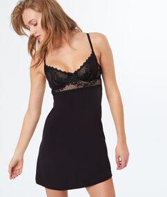 Ночная сорочка, вшитые кружевные чашки чёрный.