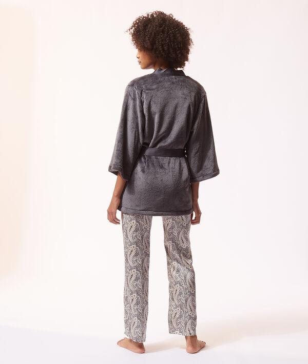 Атласный пижамный комплект с принтом пейсли;${refinementColor}