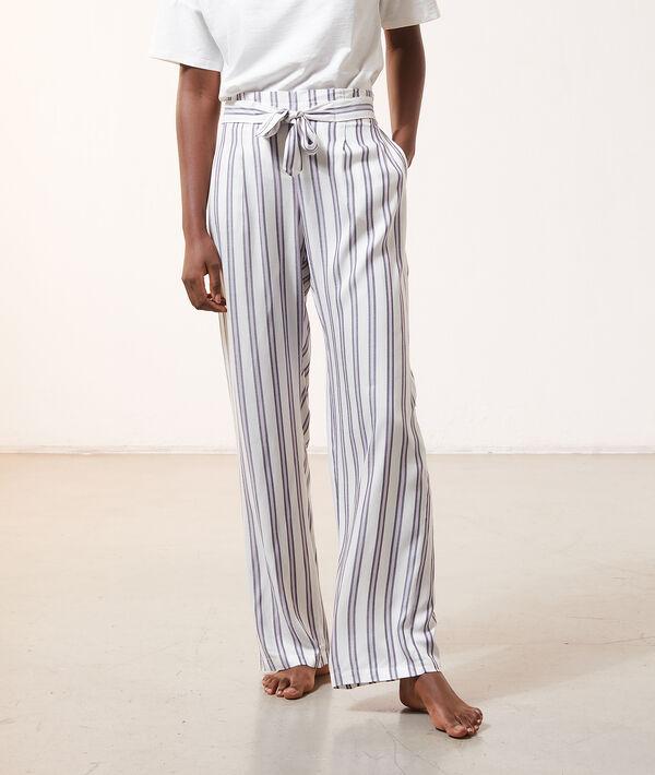 Пижамные брюки в полоску с поясом;${refinementColor}