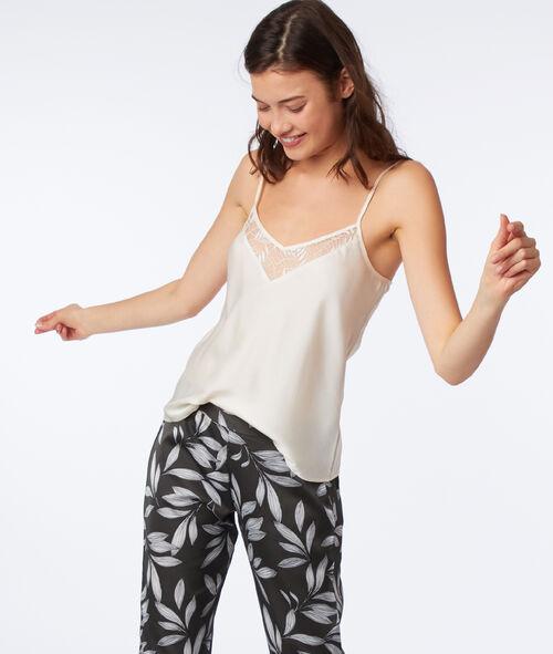 Пижама из 3 предметов с принтом из листиков