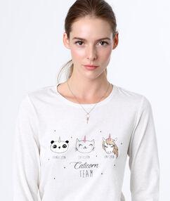 Пижамный топ с принтом единорог белый.