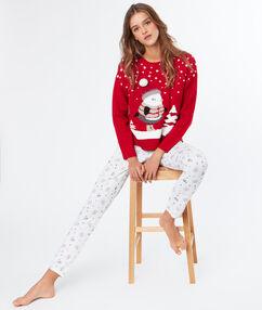 """Пижамные брюки с принтом """"рождество"""" экрю."""