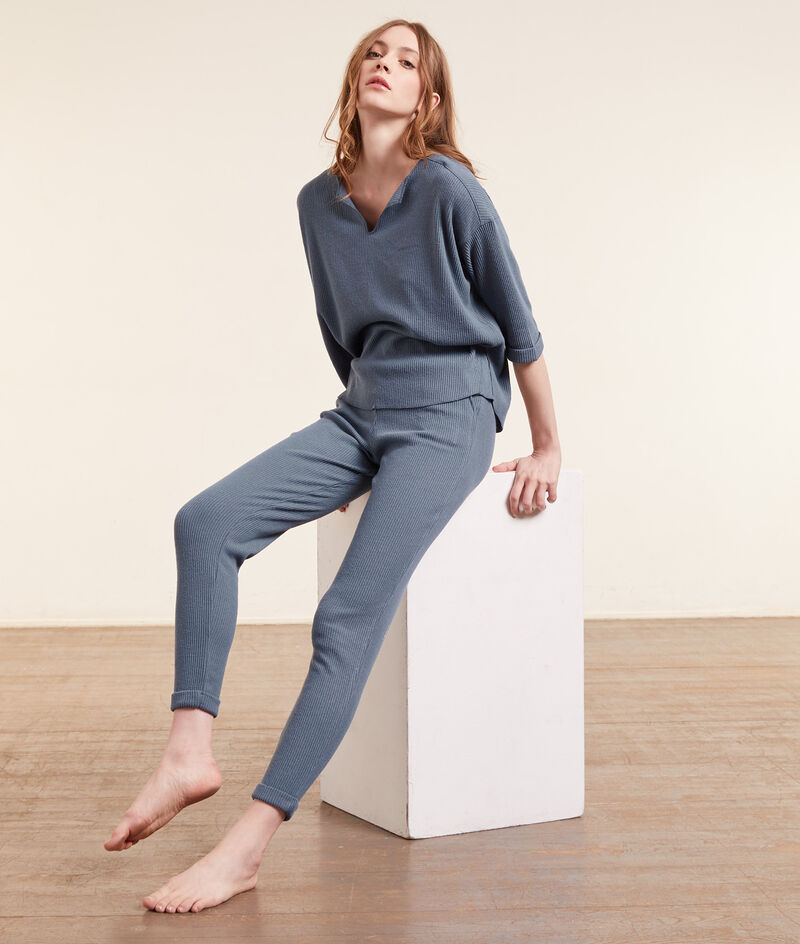 Пижамные брюки в рубчик;${refinementColor}