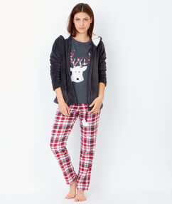 Пижама тройка, брюки с принтом в клеточку и рубашка под флис антрацит.