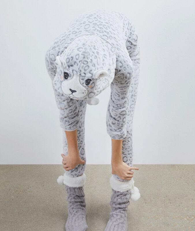 Пижама-комбинезон в виде пантеры серый.