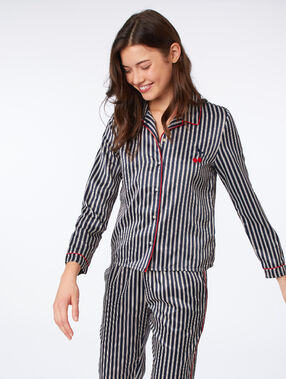 Атласная пижамная рубашка с полосками полуночно-синий.