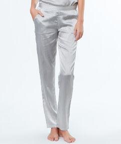 Атласные полосатые брюки серый.