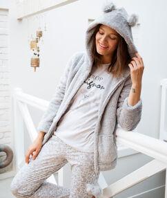 Пижама тройка с надписью серый.