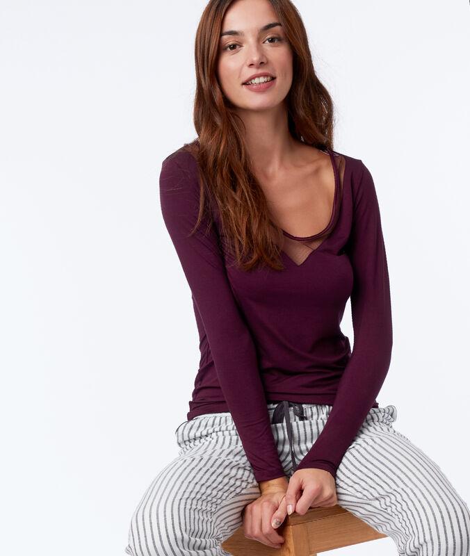 Топ с длинными рукавами и кружевным декольте ярко-фиолетовый.