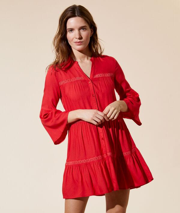 Платье с кружевом - MOLLY - Красный - M