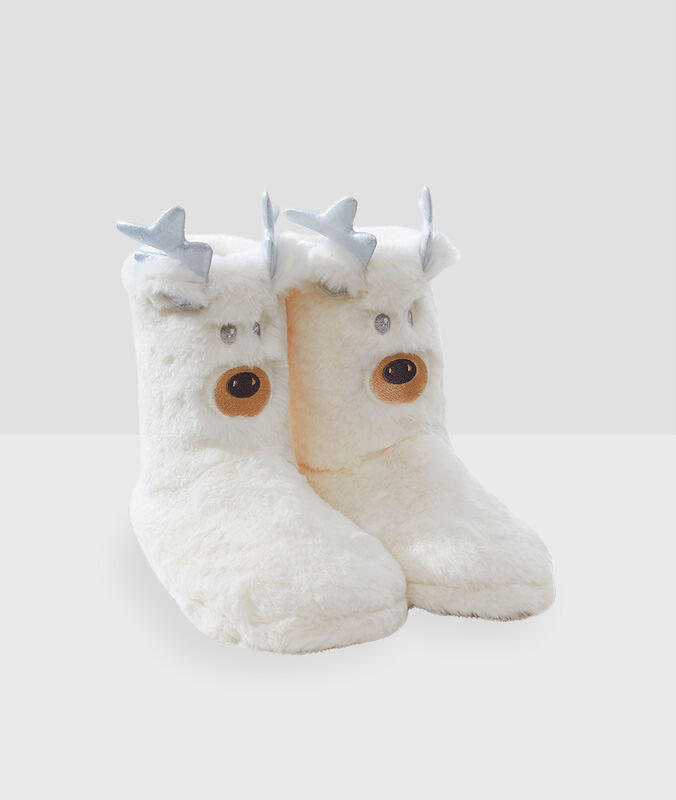 Тапочки-полусапожки в виде животных экрю.