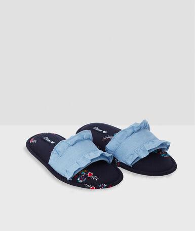 Тапочки с принтом с открытым задником голубой.