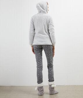 Пижама из 3 предметов с принтом звезд, с застежкой  светло-серый.