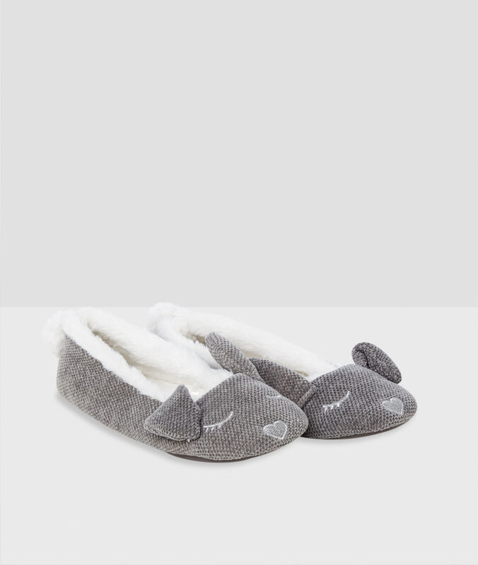 Тапочки-балетки, кроличьи ушки серый.