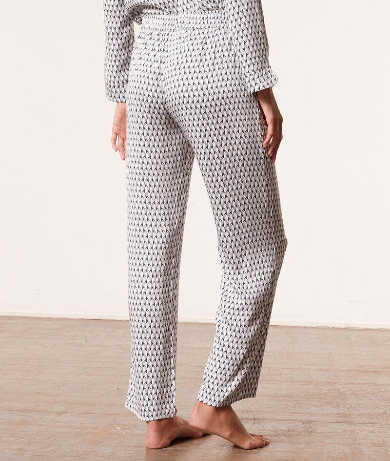 Атласные пижамные брюки с принтом;${refinementColor}