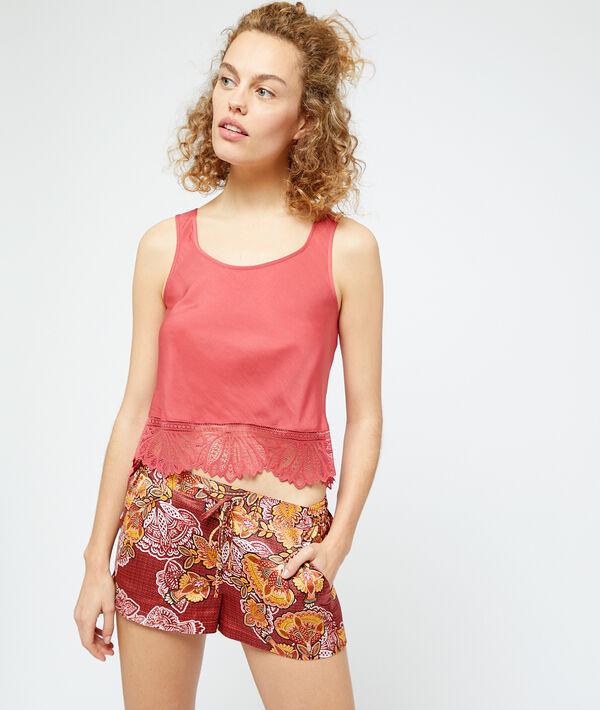 Атласные шорты с принтом - SOLAIRE - Оранжевый - XL