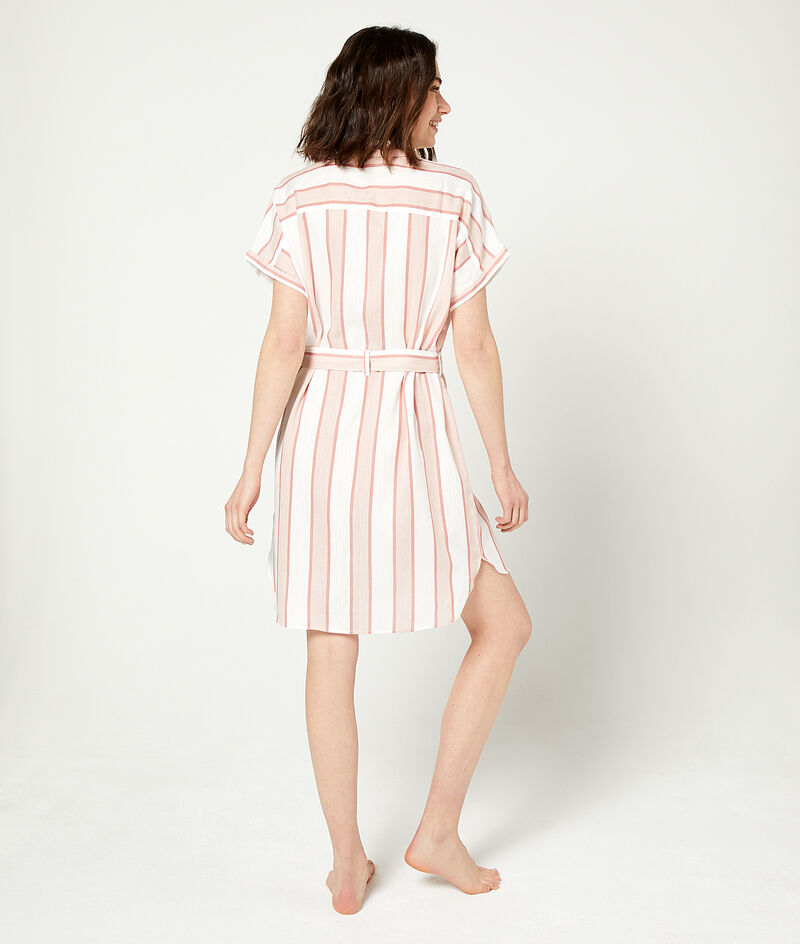 Платье-рубашка в полоску;${refinementColor}