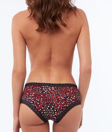 Shorty à motifs bords dentelle rouge.