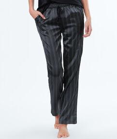 Атласные брюки в полоску чёрный.