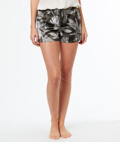Атласные шорты принтом тёмно-оливковый.