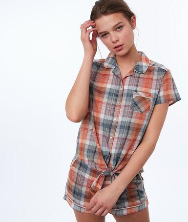 Рубашка в клетку, завязывающаяся на бант оранжевый.