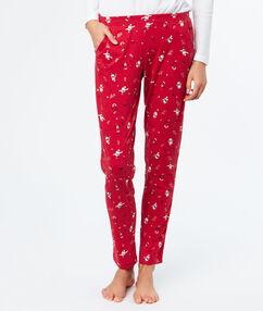 Pantalon imprimé noël rouge.