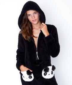 Комбинезон «панда» под флис с капюшоном черный.