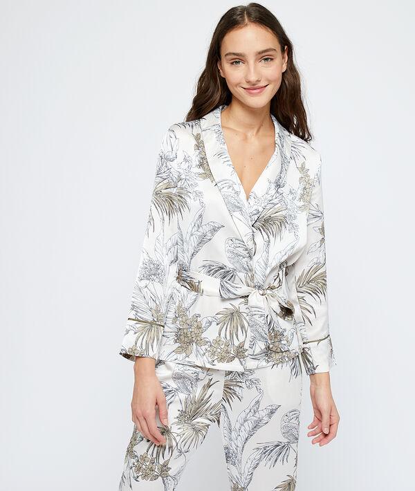 Пижамная рубашка с принтом 'листья' - HEVEA - Белый - M фото