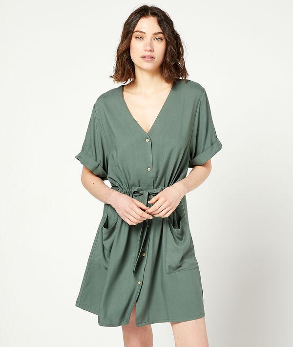 Платье-рубашка с поясом;${refinementColor}