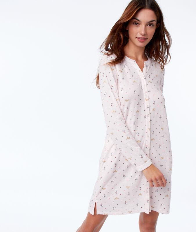 Ночная рубашка с повторяющимся рисунком розовый.