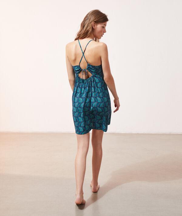 Платье-сорочка с принтом листьев;${refinementColor}
