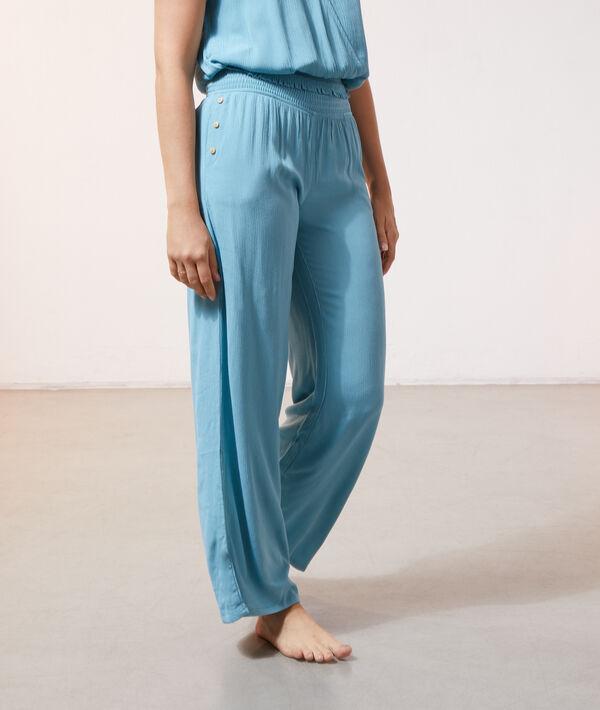 Pantalon large - NILOU - BLEU VERT - M